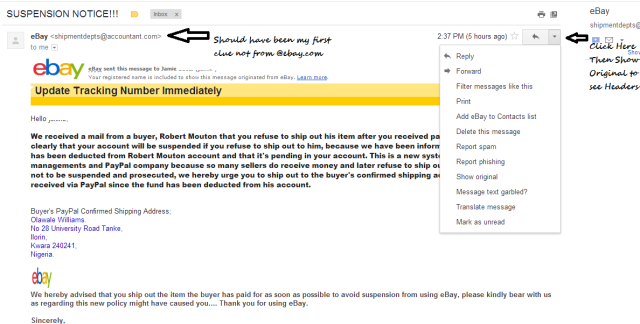 Phishing email I received after I foolishly emailed this person instead of using the eBay messaging system.